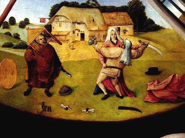 Иероним Босх. Семь смертных грехов. Гнев (фрагмент). 1475–1480