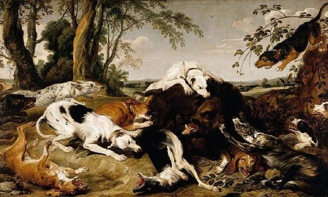 Франс Снейдерс. Собаки, сражающиеся с кабаном. 1650-е