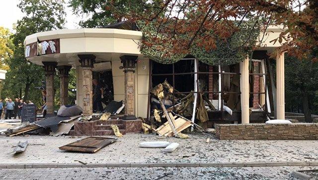 Взорванное кафе. Донецк