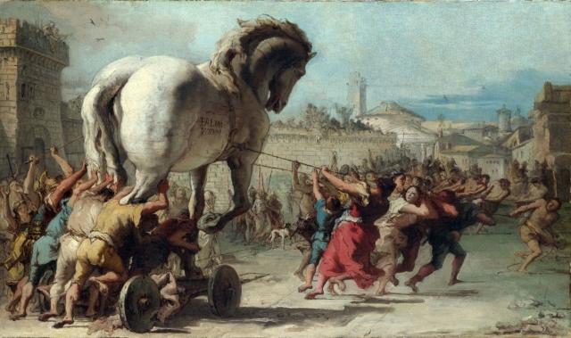 Джованни Доменико Тьеполо. Шествие троянского коня в Трою. 1743
