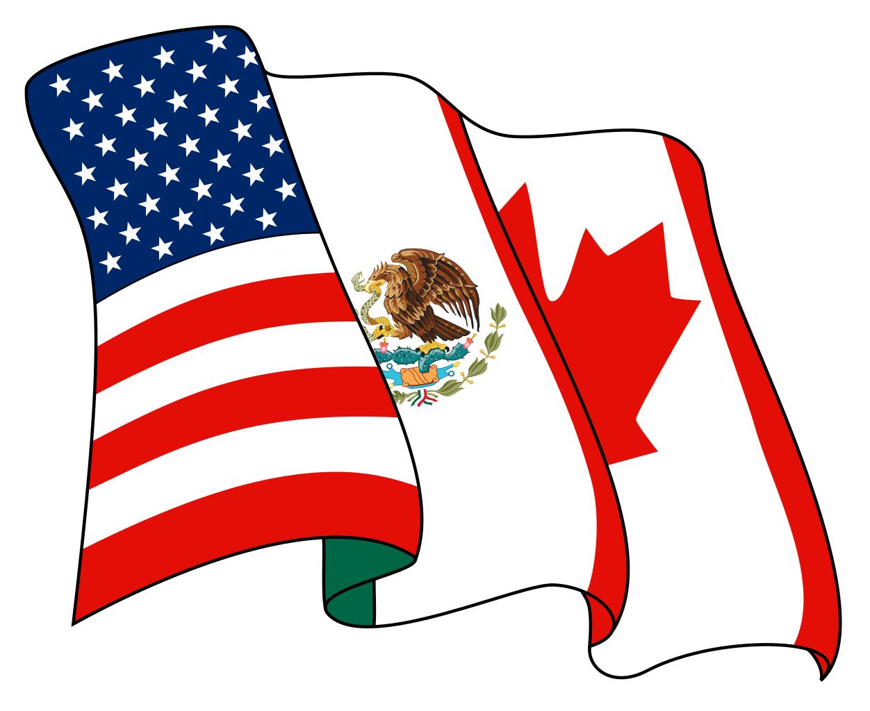 Флаги США, Мексики и Канады на логотипе NAFTA