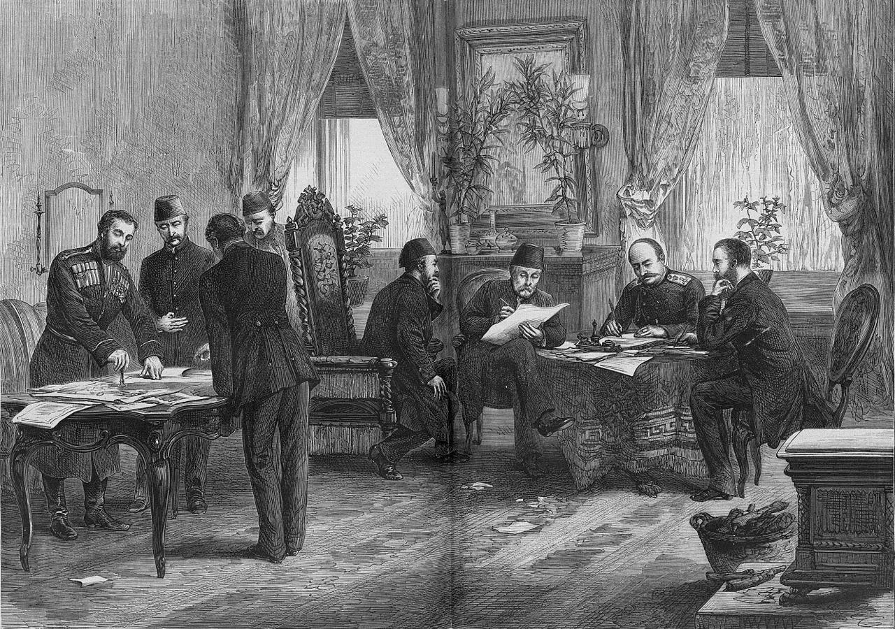 Неизвестный художник. Подписание Сан-Стефанского мирного договора 19 февраля 1878 года