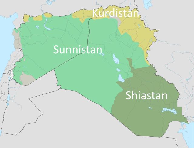 Этноконфессиональные регионы на территории Ирака и Сирии: Суннистан, Шиистан и Курдистан