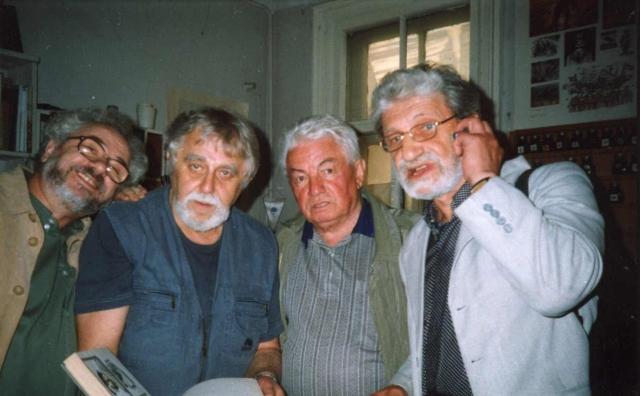 С художником Л. Каминским, писателем В. Войновичем и поэтом Ю. Кушаком
