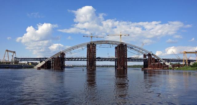 Строительство Подольско-Воскресенского моста. Киев