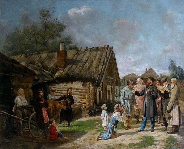 Василий Пукирев. Сбор недоимок. 1869-1870
