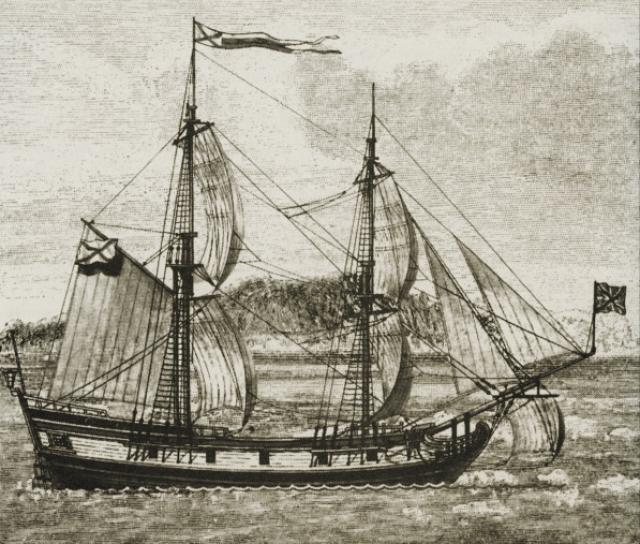 Пакетбот «Святой Пётр» на рисунке XIX века