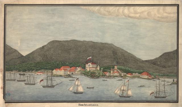 Ново-Архангельск на акварели, подписанной «креолом Александром Ольгиным 20 июля 1837 года»