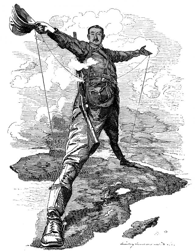 Эдвард Линли Самборн. Карикатура на Родса в журнале Панч. 1892