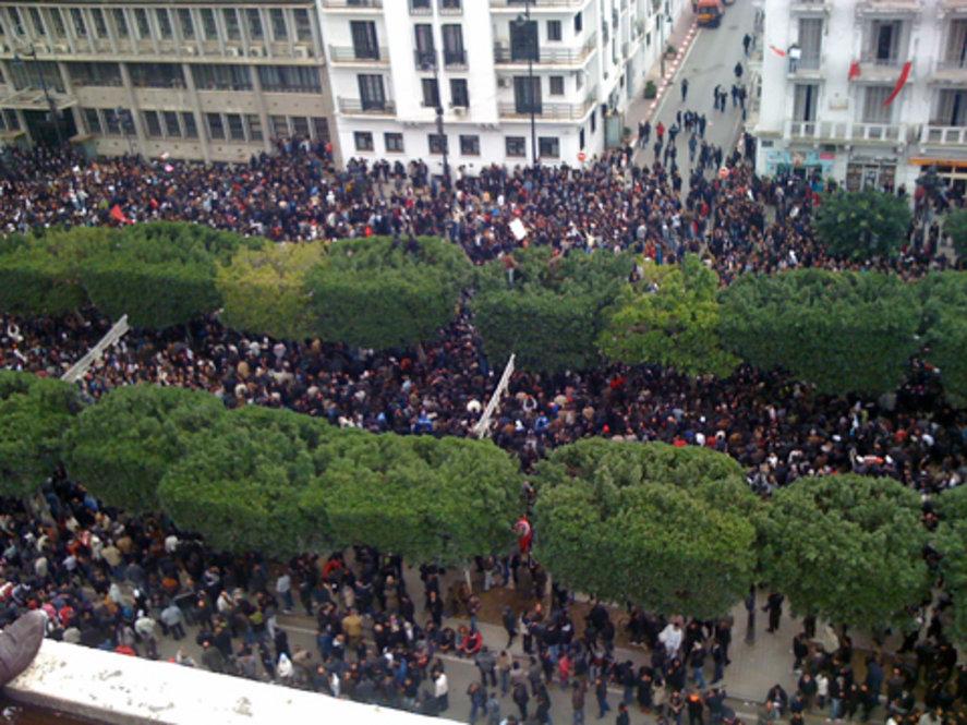 Демонстрация протеста. Тунис