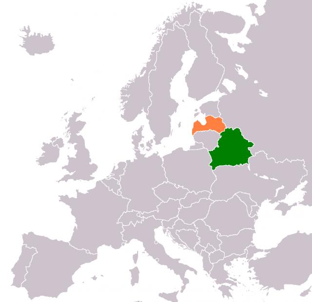 Латвия и Белоруссия на карте Европы