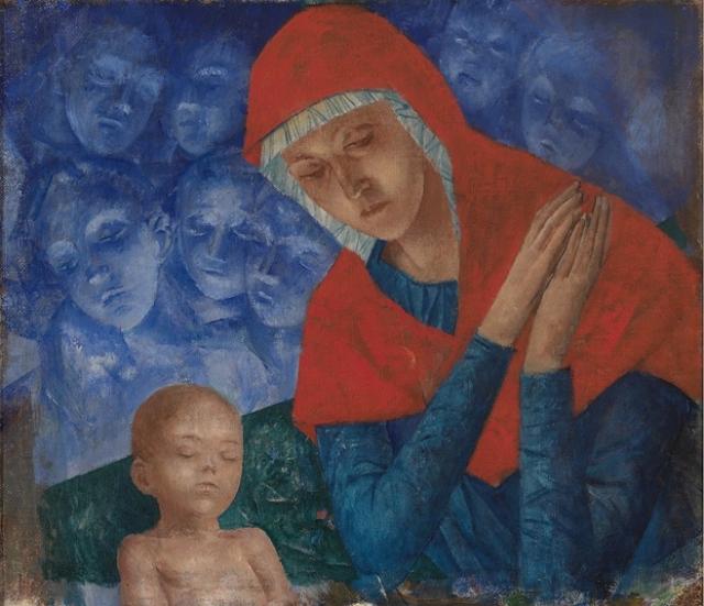 Кузьма Петров-Водкин. Богородица с младенцем. 1922