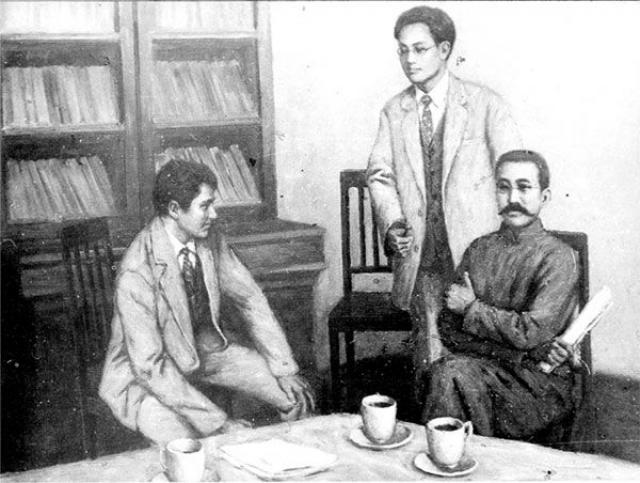 Встреча большевика Григория Войтинского (слева)