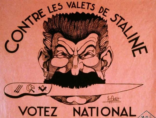 Французский антисоветский плакат. Всем народом проголосуем против прислужников Сталина. 1934