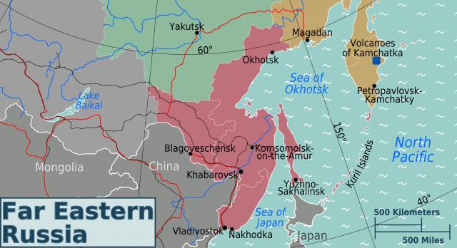 Российский Дальний Восток. Красным цветом выделена территория Приморского и Хабаровского краёв, Амурской области и ЕАО