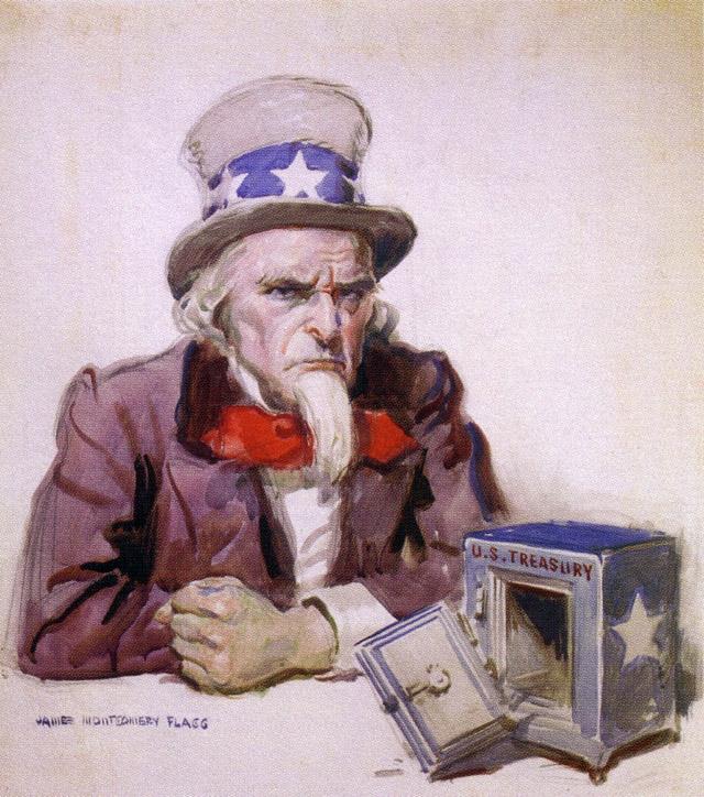 Джеймс Монтгомери Флэгг. Дядя Сэм с пустой сокровищницей. 1920