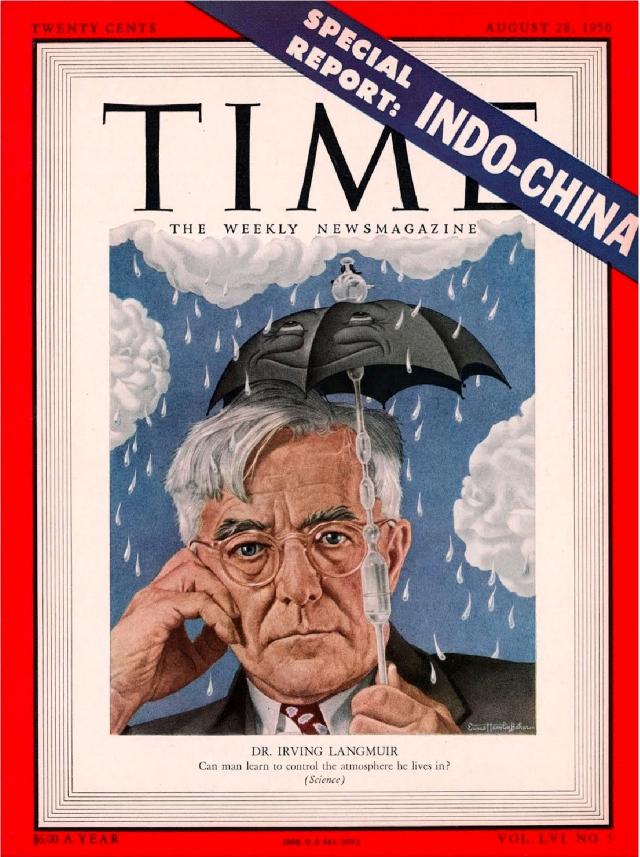 Обложка октябрьского номера журнала Time за 1950 год, на которой написано «Д-р ИРВИНГ ЛЕНГМЮР: Может ли человек научиться контролировать атмосферу, в которой он живет? (Наука)»