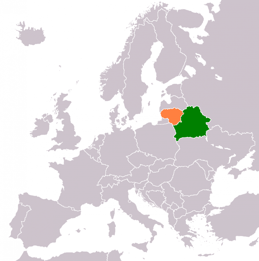 Белоруссия и Литва на карте Европы