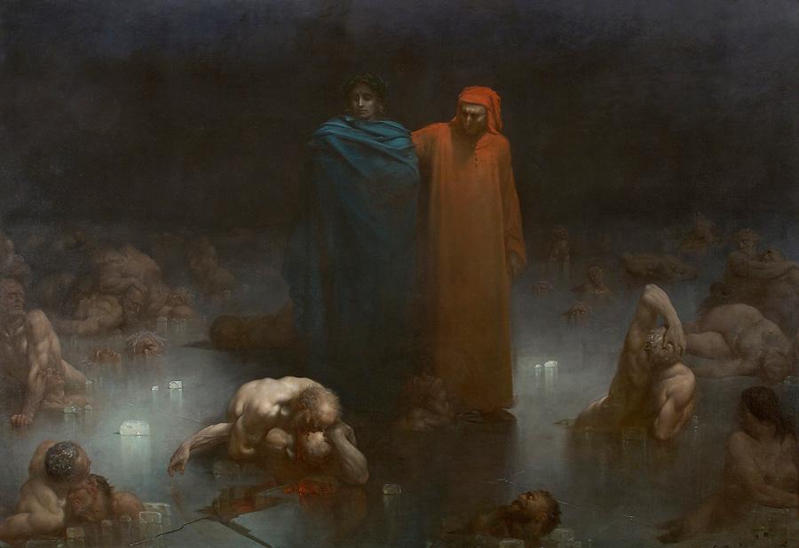 Гюстав Доре. Данте и Вергилий в девятом круге ада. 1861