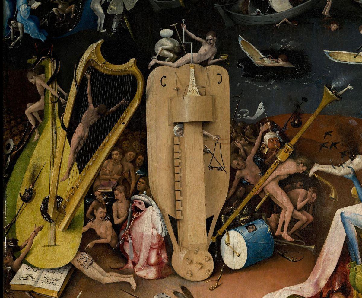 Иероним Босх. Сад земных наслаждений. Музыкальный Ад. Правая створка. Фрагмент. 1500-е