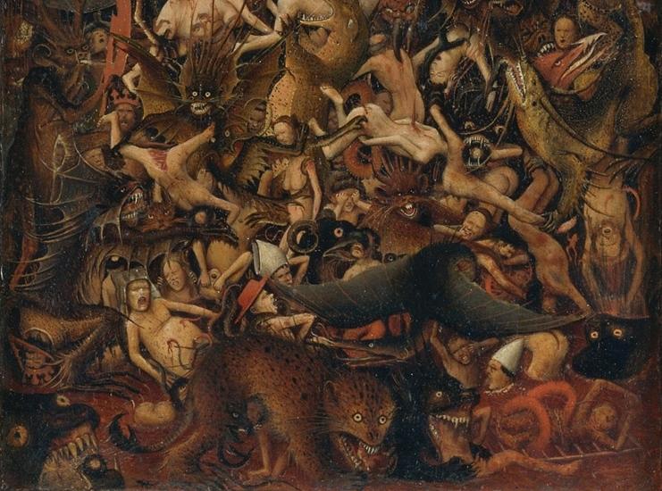 Иероним Босх. Страшный суд. Правая часть диптиха, деталь. Диптих создан в начале 1430-х. фрагмент