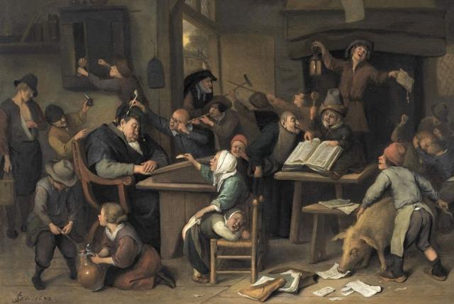 Ян Стен. Школьный класс со спящим учителем. 1672