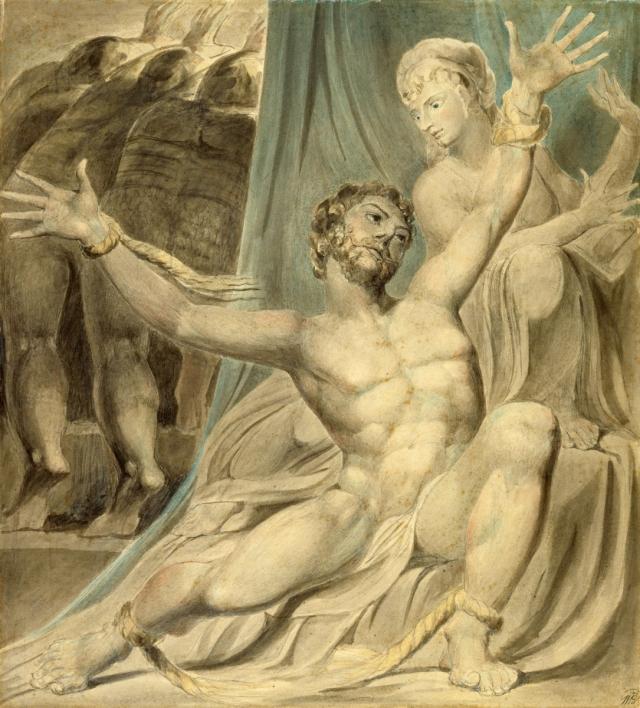 Уильям Блейк. Самсон разрывает путы. 1803