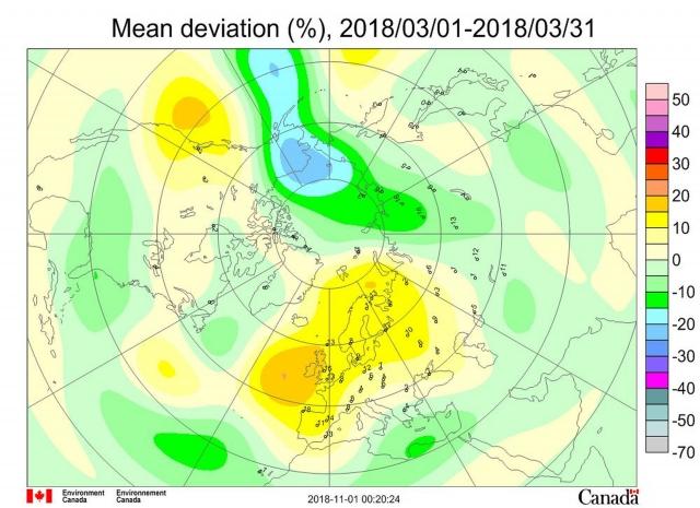 Рис. 2. Среднемесячные (март 2018 г.) аномалии общего содержания озона в Северном полушарии