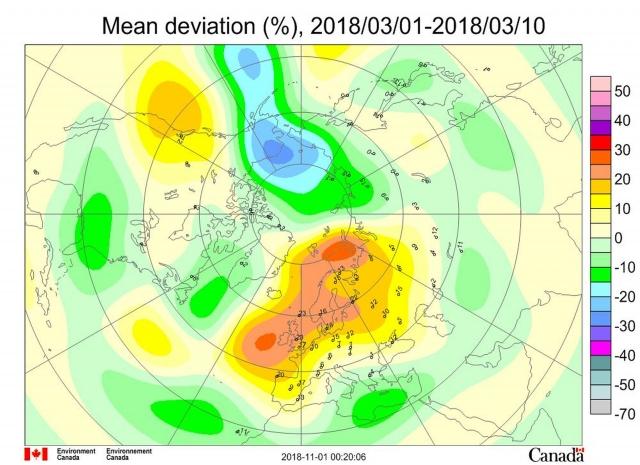 Рис. 3. Среднедекадные (1–10 марта 2018 г.) аномалии общего содержания озона в Северном полушарии