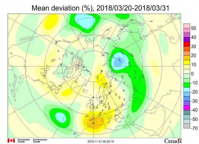 Рис. 5. Среднедекадные (20–31марта 2018 г.) аномалии общего содержания озона в Северном полушарии