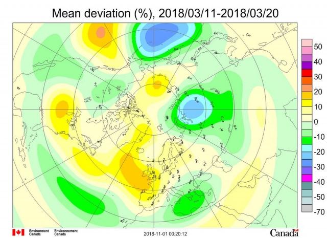 Рис. 4. Среднедекадные (11–20 марта 2018 г.) аномалии общего содержания озона в Северном полушарии
