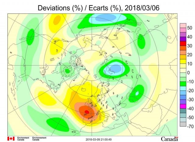 Рис. 7. Аномалии общего содержания озона 6 марта 2018 г. в Северном полушарии