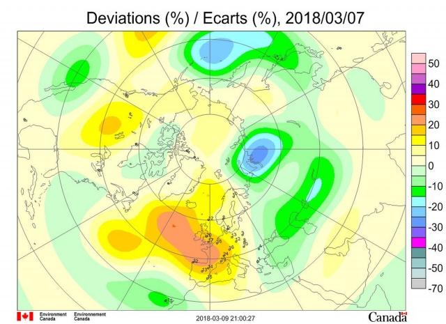 Рис. 8. Аномалии общего содержания озона 7 марта 2018 г. в Северном полушарии