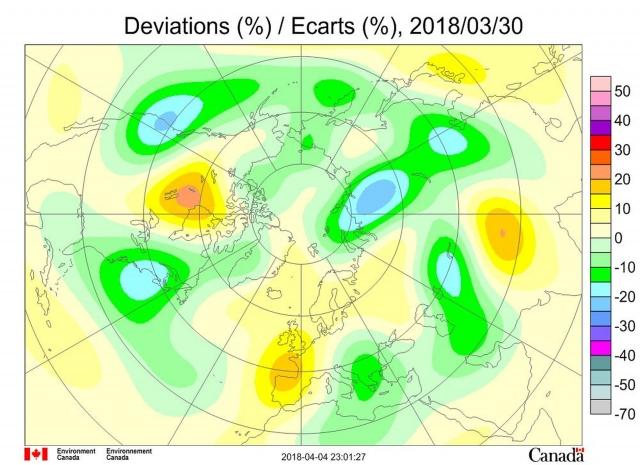 Рис. 9. Аномалии общего содержания озона 30 марта 2018 г. в Северном полушарии