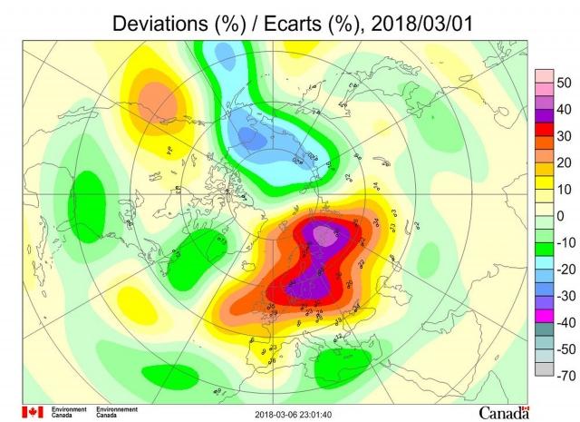Рис. 6. Аномалии общего содержания озона 1 марта 2018 г. в Северном полушарии