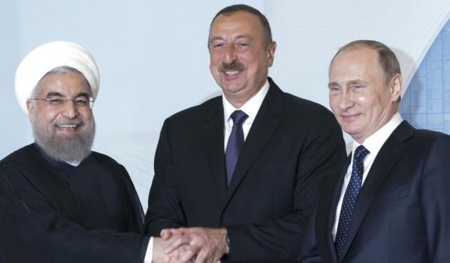 Владимир Путин провел трёхстороннюю встречу с Президентом Ирана Хасаном Рухани и Президентом Азербайджана Ильхамом Алиевым. Тегеран