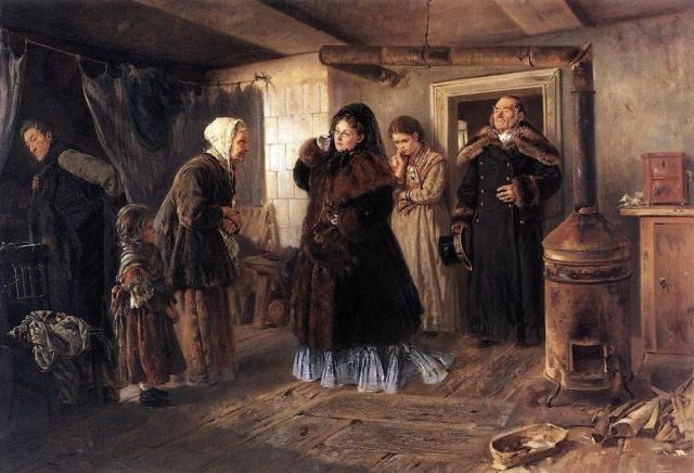 Константин Маковский. Посещение бедных. 1874