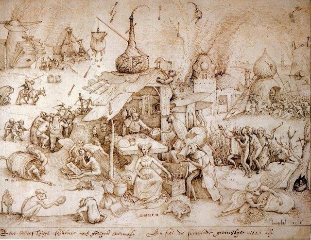Питер Ван дер Хейден после Питера Брейгеля Старшего. Семь смертьных грехов — алчность. 1558