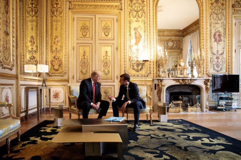 Дональд Трамп и Эммануэль Макрон в Париже