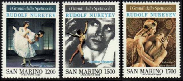 Почтовые марки Сан-Марино, посвященные Рудольфу Нуриеву