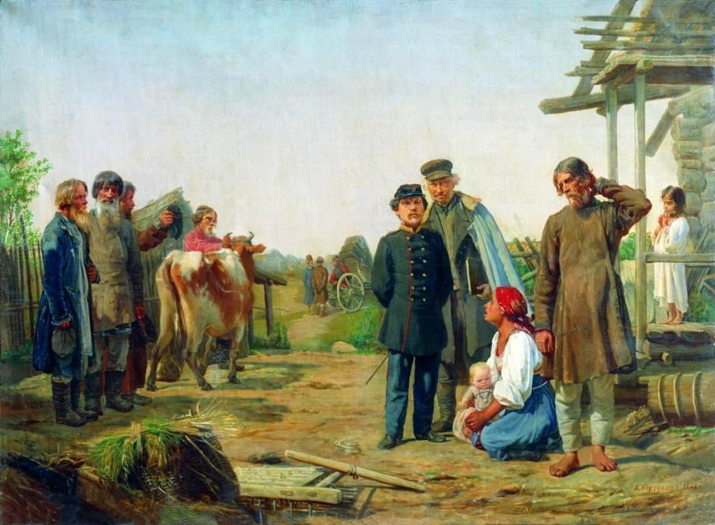 Алексей Карзухин. Сбор недоимок. 1868