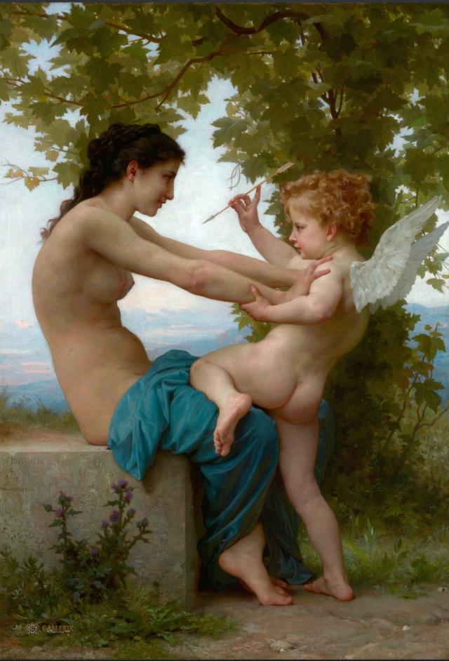 Адольф Бугро. Девушка, защищающаяся от Эрота. 1880