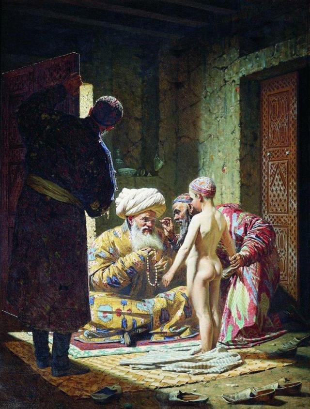 Василий Верещагин. Продажа ребенка — невольника. 1872