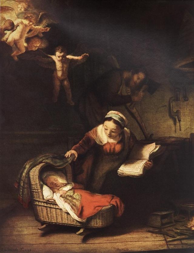 Рембрандт. Святое семейство и ангелы. 1645