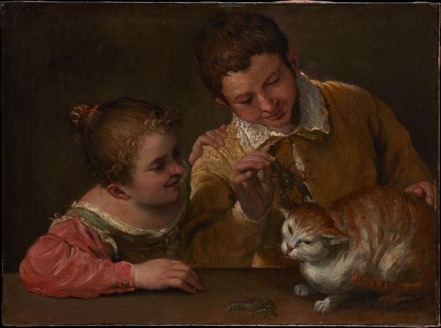 Аннибале Карраччи. Два ребенка дразнят кота. 1590