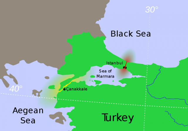 Проливы Босфор и Дарданеллы (обозначены красным и жёлтым цветом, соответственно)