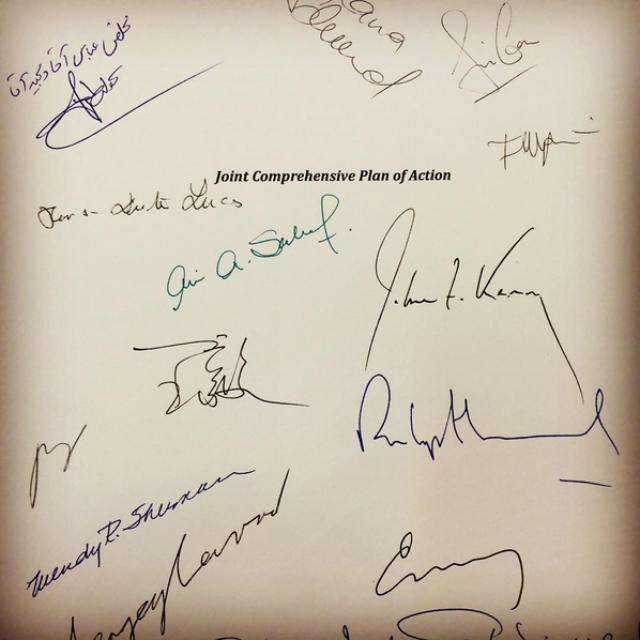 Подписи сторон под Соглашением об иранском атоме (JCPOA)