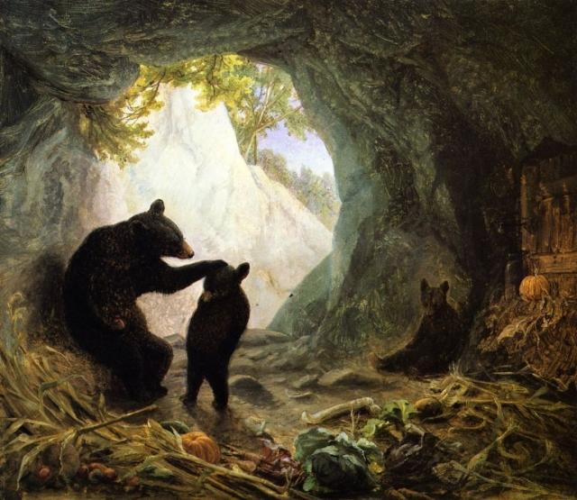 Уильям Холбрук Берд. Медведь и медвежата. 1864