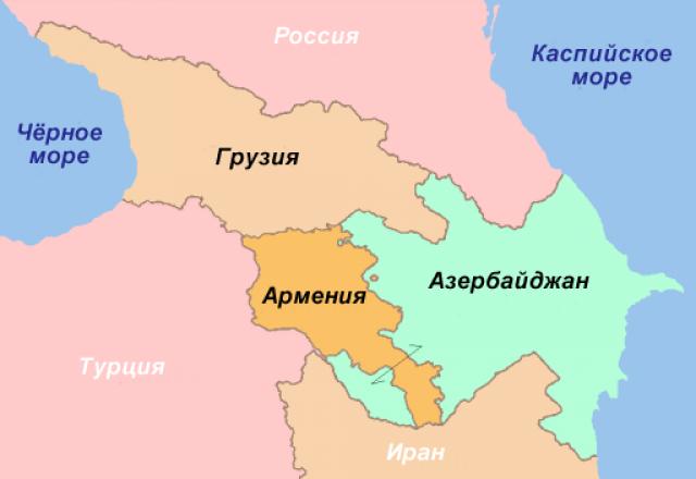 Страны Закавказья на карте
