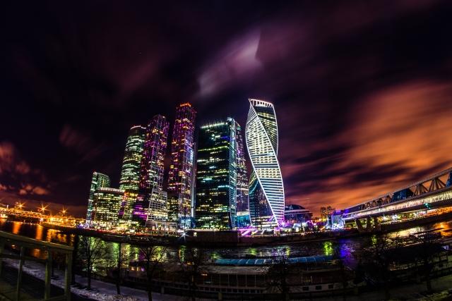Столица ночью. Москва-cити
